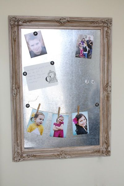 Not only do I love the sheet metal magnet board, but I also want to do the magnet clothesline/clothespins to hang pictures!!