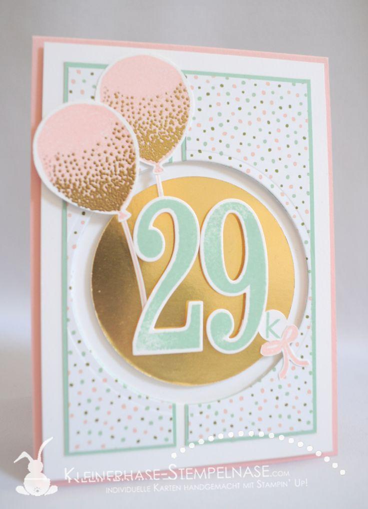 Stampin Up Geburtstagsstrauß So viele Jahre Partyballons Große Zahlen 01