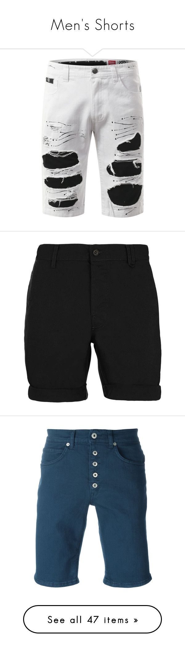 """""""Men's Shorts"""" by unholyvengeance ❤ liked on Polyvore featuring shorts, ripped jean shorts, destroyed denim shorts, short jean shorts, distressed jean shorts, jean shorts, bottoms, embellished shorts, men's fashion and men's clothing"""