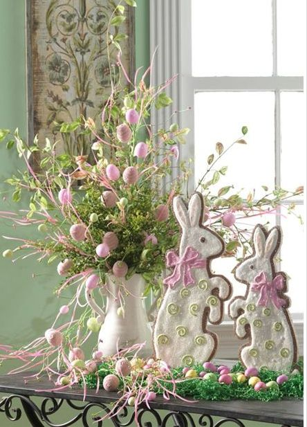Easter Centerpiece using RAZ Easter Egg Sprays and Bunny Cookie Easter Decorations....see more at www.trendytree.com