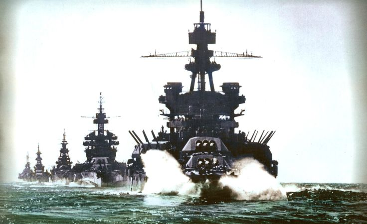 Color photo of the USS Pennsylvania in the Lingayen Gulf in early 1945 [2374x1672]