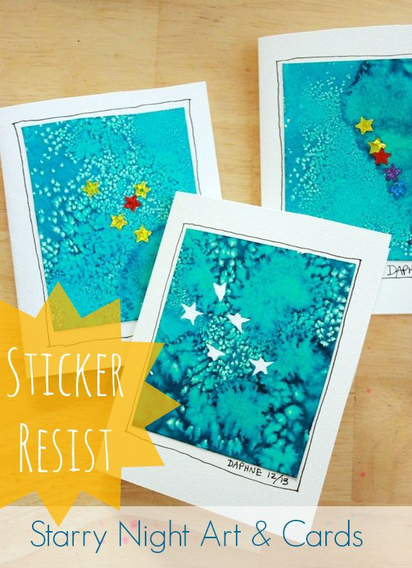 Sticker Resist Starry Night Art and Cards -- Easy for kids to make and BEAUTIFUL!