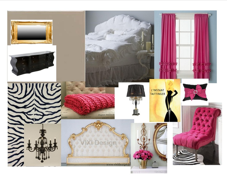 Pink, Black, Gold Glam Bedroom