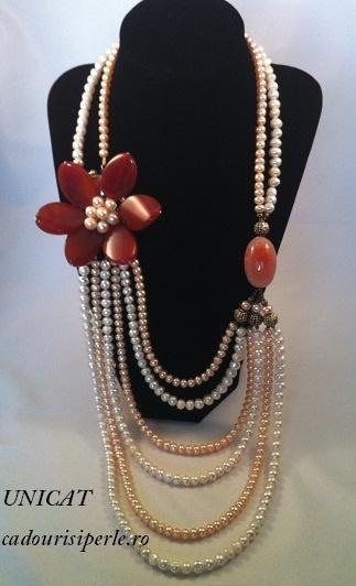 Colierul este impresionant, creat in intregime manual din 6 siraguri de perle albe si roz de 6-7 mm si decoratiuni din agate naturale, pietre semipretioase foarte la moda. Primul sirag, cel din apropierea gatului are 46 cm. Colierul este unicat si are un pret excelent, fiind un cadou de neuitat.