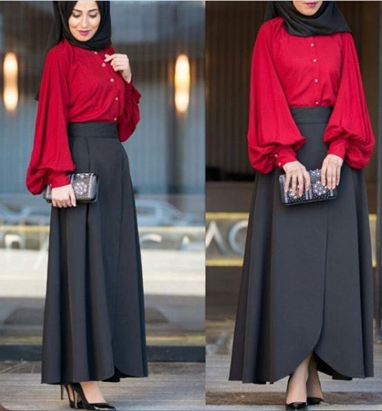 Black skirt and tomato red blouse - check out: Esma <3