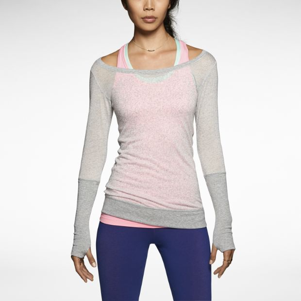 Grey Signal Mezzo Long-Sleeve, by Nike. This training t-shirt features a burnout effect on soft fabric for lightweight comfort and a worn-in look. Elongated cuffs with thumbholes keep sleeves in place during your workout.