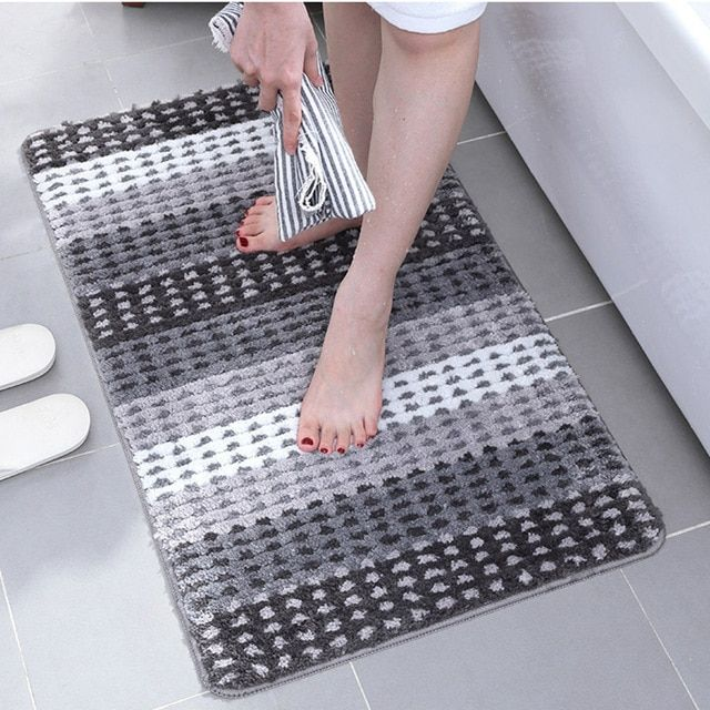 Bath Mat For Bathroom Toilet Bathtub Wash Basin Bath Rug Non Slip Absorbent Microfiber Striped Bathro Bath Mat Rug Bathroom Carpet Bath Mats Small Bathroom Rug