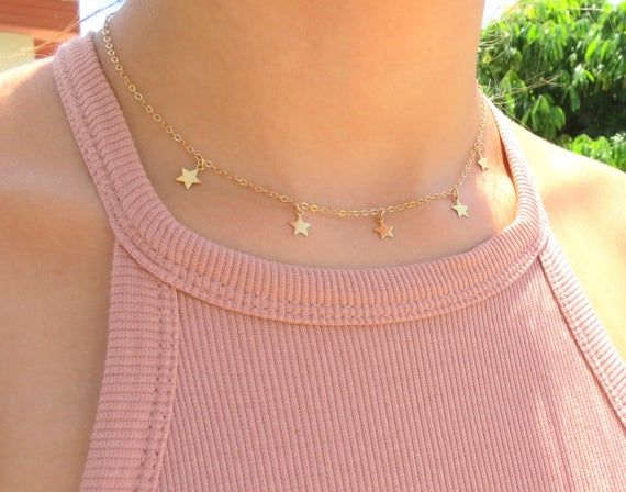 small dainty gold white star necklace