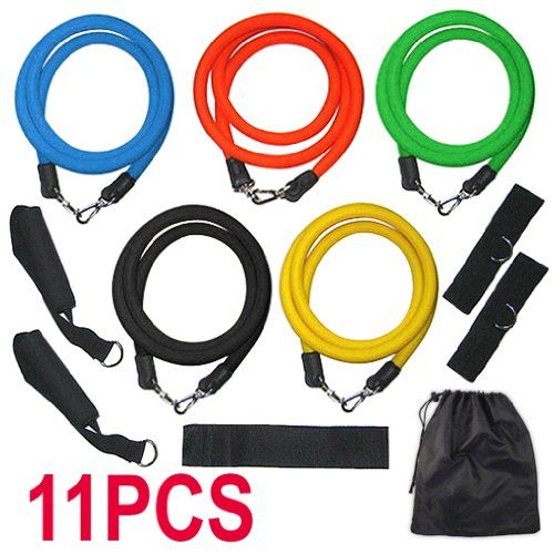 TOOGOO(R) RESISTANCE BANDS Set For Yoga Abs Pilates Fitness Exercise Workout 11 Pieces - http://workoutprograms.net/toogoor-resistance-bands-set-for-yoga-abs-pilates-fitness-exercise-workout-11-pieces/