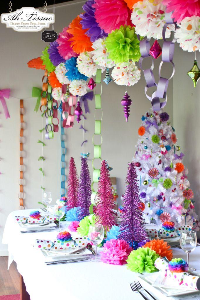 Fiesta de Reyes / Dia de los Reyes / Three Kings Day / Epiphany -- decoraciones coloridas -- Bright Christmas Pom Poms and Decorations