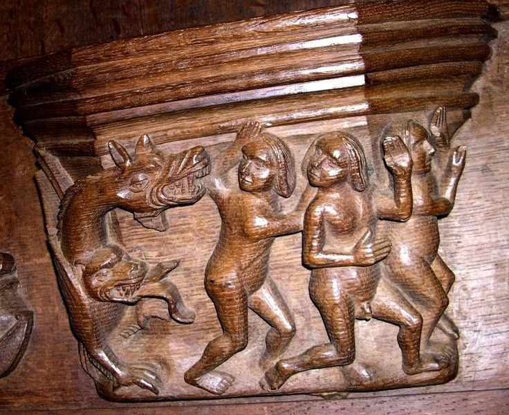 misericord in Bristol Cathedral carved 1520 -- design derived FROM NEXT. Elsewhere the carvers (and illuminators) seem to have used a truncated version of the motif, featuring only one fleeing putto [SEE BELOW]