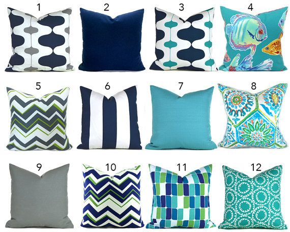 Outdoor/Indoor Pillow Covers ANY SIZE You Choose Outdoor Decorative Pillow Cover Blue Pillow Turquoise Pillows Ikat Pillow Chevron Pillow