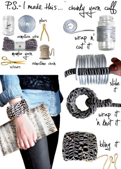 How to make chunky yarn bracelet