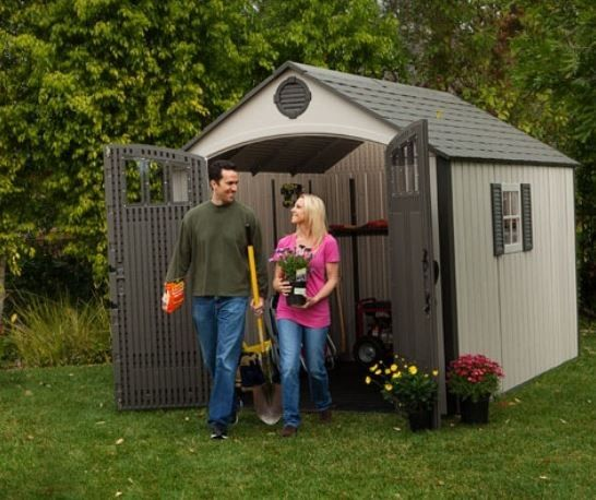 Lifetime Storage Shed 60086 Doors Open In Use