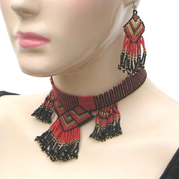 Red Black Gold Native Style Beaded Set