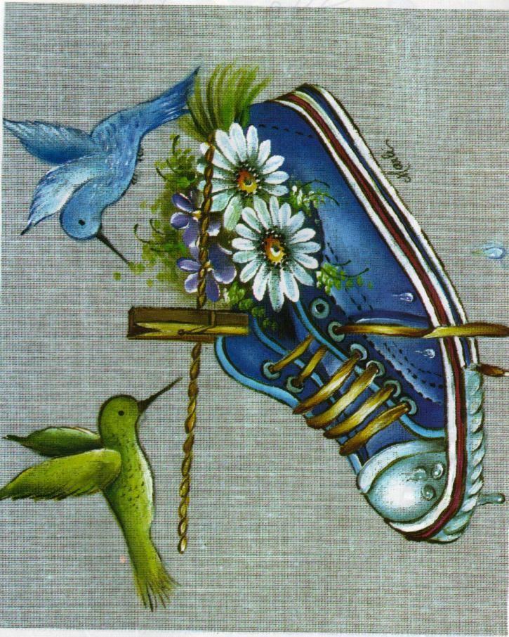Beija-flores e tênis no varal