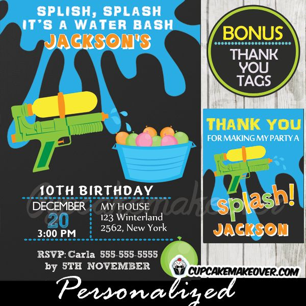 Printable Water Fight Birthday invitation featuring a bucket full of water balloons and a squirt gun. Perfect for a boy's backyard pool party birthday celebration this summer. #cupcakemakeover