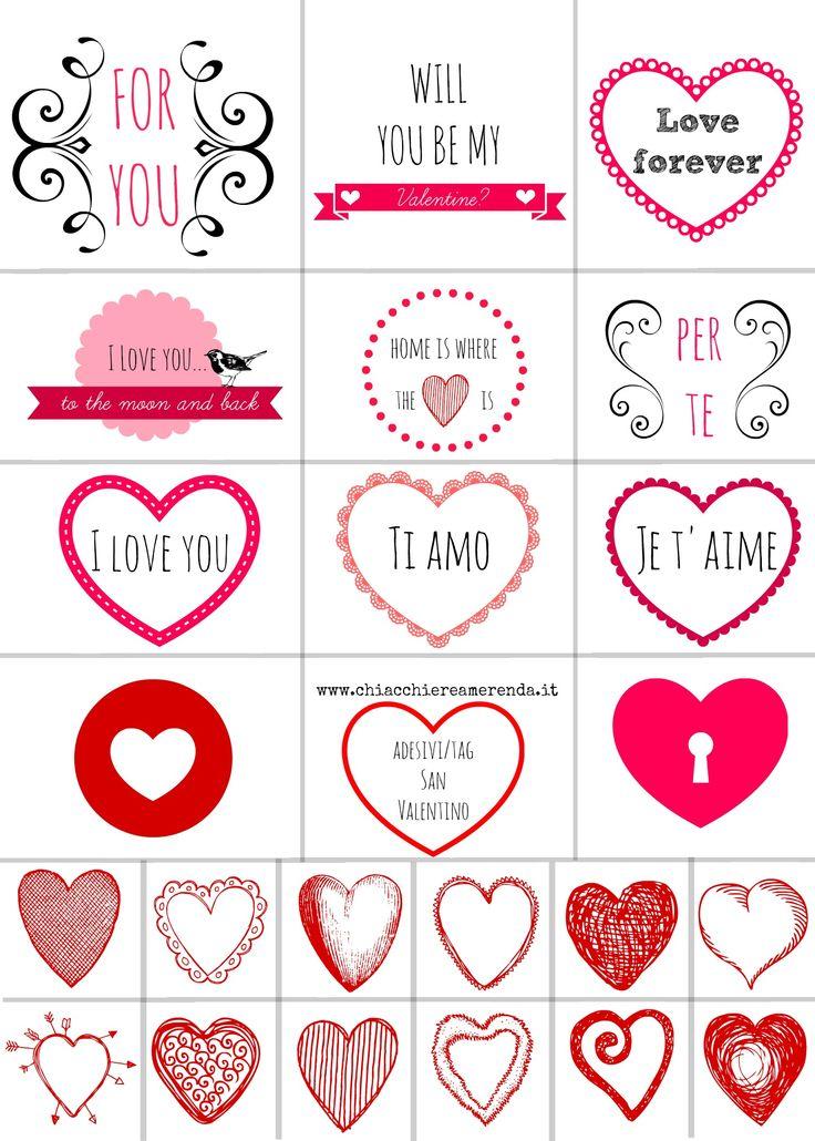 Adesivi San Valentino: SCARICATELI GRATUITAMENTE!! www.chiacchiereamerenda.it