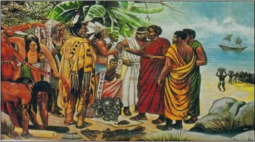 """An overwhelming body of new evidence is emerging which proves that Africans had frequently sailed across the Atlantic to the Americas, thousands of years before Columbus and indeed before Christ. Dr. Barry Fell of Harvard University highlights an array of evidence of Mulsims in America before Columbus from sculptures, oral traditions, coins, eye-witness reports, ancient artifacts, Arabic documents and inscriptions.  """""""