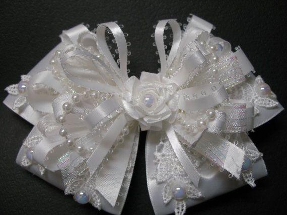 WHITE Satin & Lace Hair Bow Big Large Elegant by HareBizBows