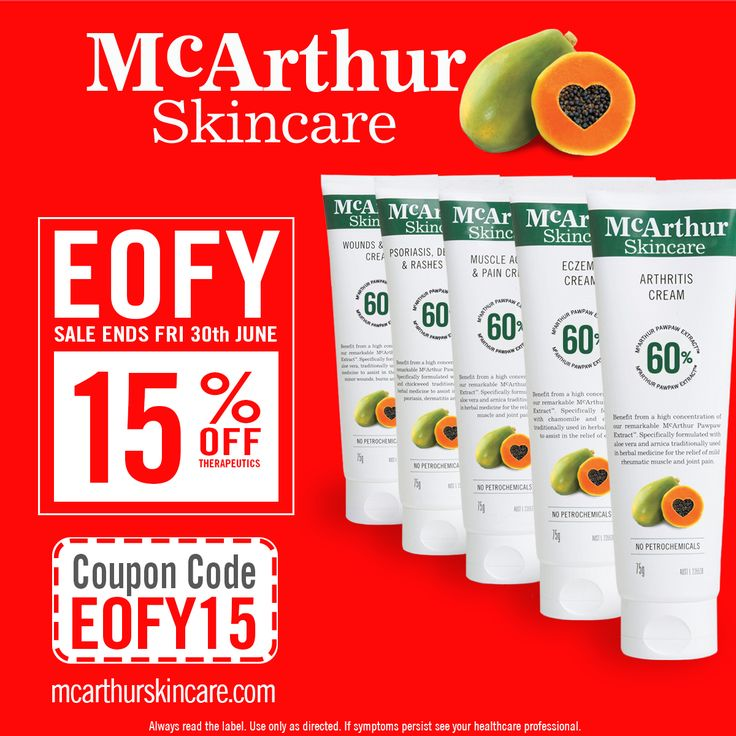 15% OFF McArthur Skincare Therapeutic Cream  Save 15% OFF the popular Therapeutic Range of McArthur Skincare products during our EOFY Sale in our online store by using coupon code: EOFY15 at the final stage of the checkout.   Not available with any other offer. Expires Midnight (AWST) 30th June, 2017.  Shop Now: https://goo.gl/hJppUq  Arthritis Cream – Contains the active natural ingredients Aloe Vera, and Arnica which is traditionally used in herbal medicine for the relief of mild…