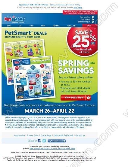 Company: PetSmart Inc.   Subject: Click here to see our new Spring into Savings ad!         INBOXVISION, a global email gallery/database of 1.5 million B2C and B2B promotional email/newsletter templates, provides email design ideas and email marketing intelligence. www.inboxvision.c... #EmailMarketing  #DigitalMarketing  #EmailDesign  #EmailTemplate  #InboxVision  #SocialMedia  #EmailNewsletters