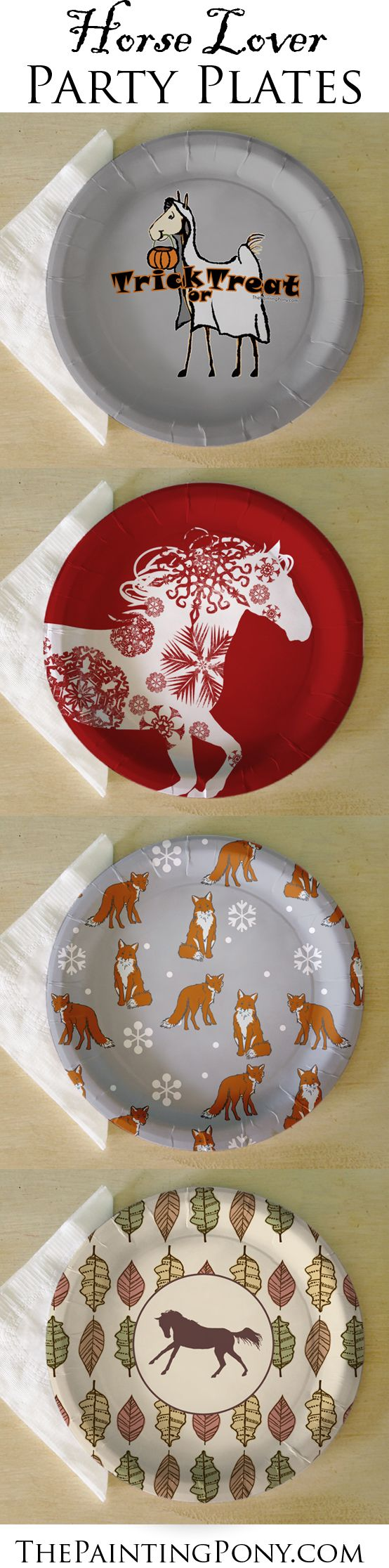 Paper Party Plates for the horse lover! CUTE equestrian themed paper plates for the barn party, wedding, Christmas parties, or thanksgiving dinner! Holiday brunch made easy and stylish! For when you want something special but don't want to wash the dishes! Anyone who loves horses, ponies, and horseback riding from hunter jumper, dressage, to barrel racing cowgirl style will enjoy these plates! Come in dessert and dinner sizes.