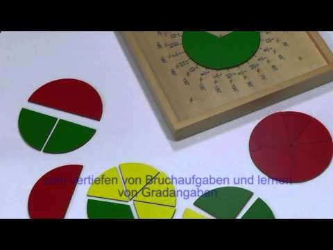 Der Bruchkreis mit Gradeinteilung und Geotafel http://www.montessori-shop.de/material/bruchkreis-mit-gradein-159.php nach Maria Montessori ist ein Ideales Material zum vertiefen von Bruchaufgaben und das Lernen von Gradangaben zu Kreisen und Winkeln.