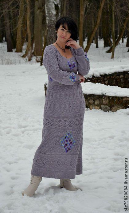 """Длинное теплое вязанное платье"""" Зачарованная"""" - бледно-сиреневый,длинное платье"""