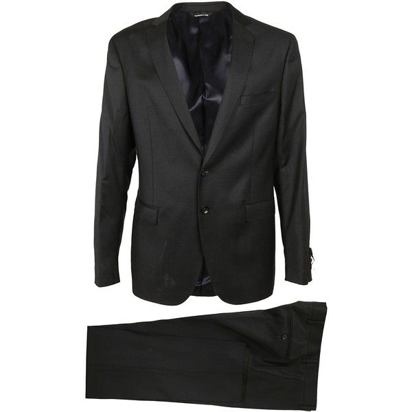 Classic Suit (642,380 KRW) ❤ liked on Polyvore featuring men's fashion, men's clothing, men's suits, grey, mens wool suits, merino wool mens clothing, mens gray suit and mens grey suits