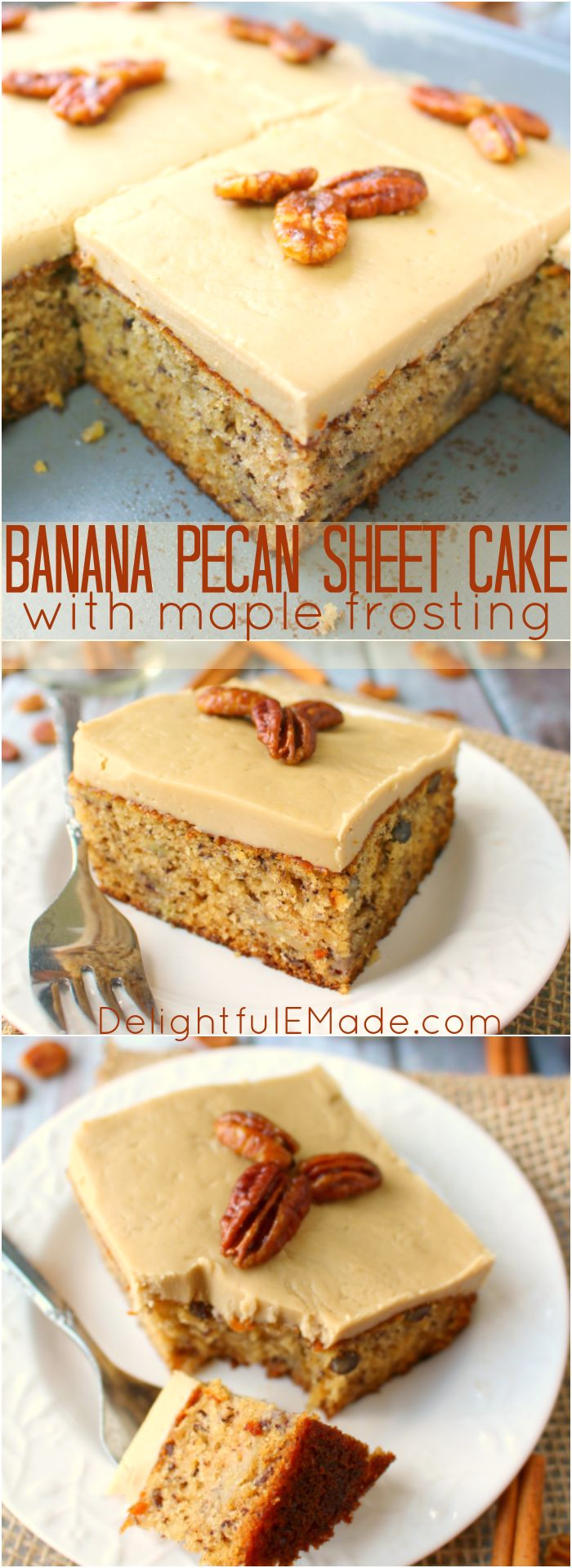 A classic banana cake brought to a whole new level! Moist, sweet cake baked with pecans and topped with a delicious maple frosting, and brown sugar glazed pecans, this cake is perfect for any and every occasion! #BLU16 #SweetandSouthern @DixieCrystals