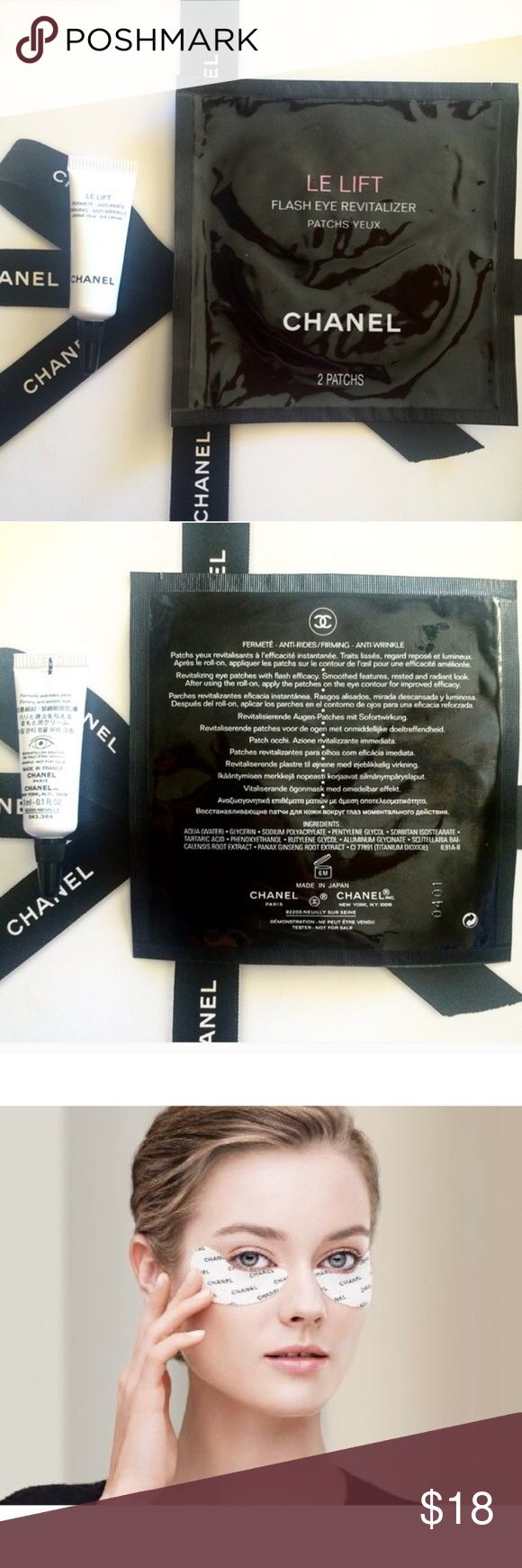 CHANEL eye patch Brand new and authentic CHANEL eye patches and eye cream sample. A two-step eye care system that starts with an intense roll-on serum followed by hydrogel patches for immediate revitalization and radiance. Actual Product includes ten sets of two hydrogel patches for 135$ before tax. Eye cream full size is 105$ before tax. Price is for 1 per of eye patches and sample size eye cream. ❌No Trade❌ CHANEL Makeup