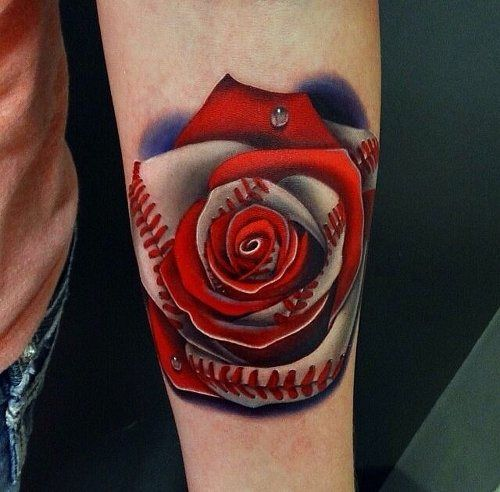 Baseball Tattoos - Inked Magazine ..I am not much on flower tattoos, but this one is pretty badass!