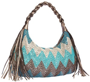 The Brandi Shoulder Bag from Big Buddha is a stylish hobo with a zig-zag pattern and fringe detail.
