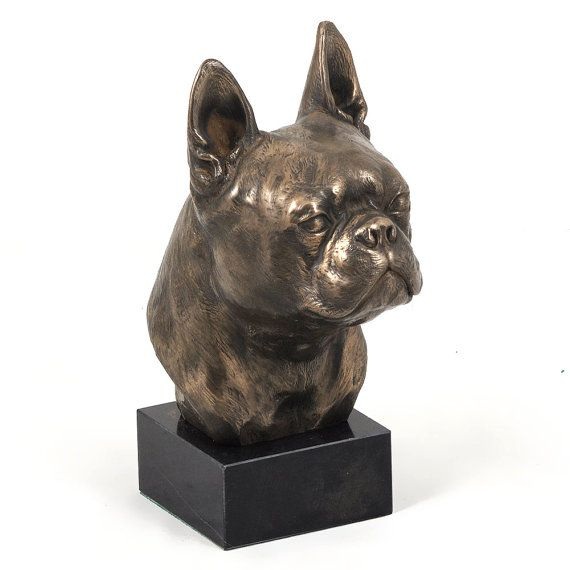 Boston Terrier dog marble statue limited by ArtDogshopcenter