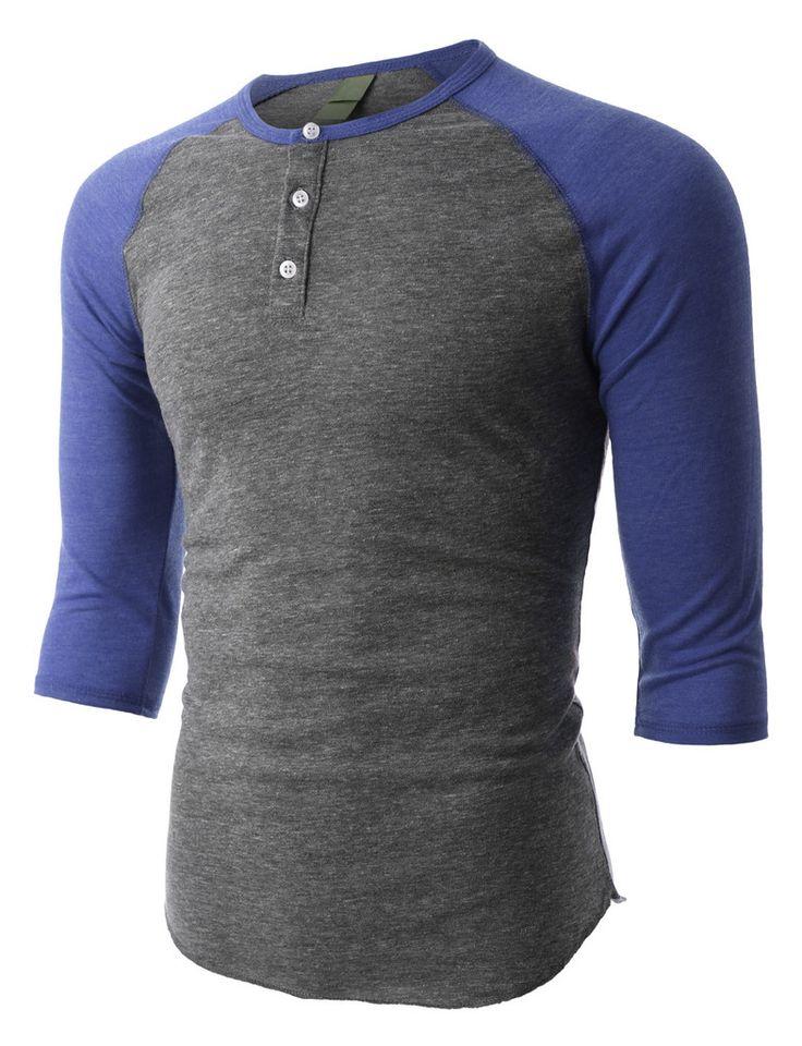VOM PREMIUM Mens Slim Fit Raglan 3/4 Sleeve Baseball Button Henley Shirt