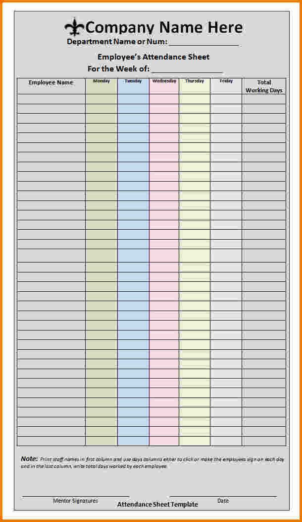Excellent Employee Attendance Sheet Form For Company with Colorful Table and For Weekly Period - an image part of Perfect Example of Employee Attendance Sheet Template in Excel with Total Present and Absent