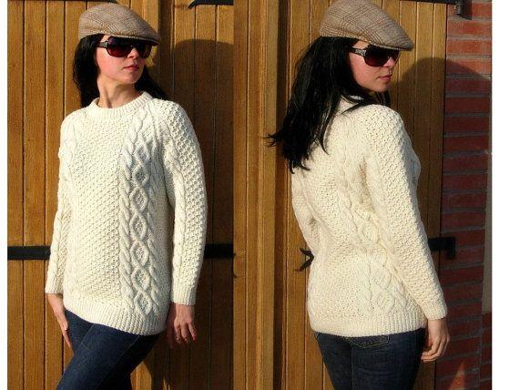 Handmade Aran jumper Irish Pure New Wool Handspun by VillageChic