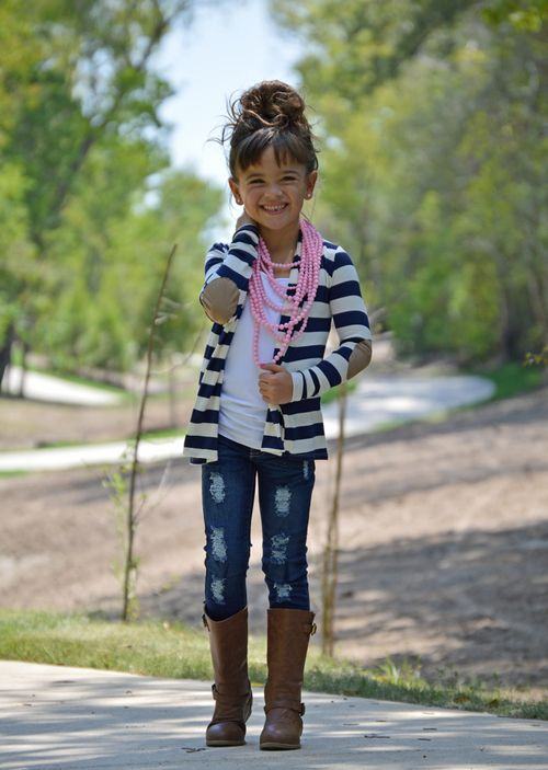 Striped Elbow Sleeve Cardigan, Ryleigh Rue Clothing, Little Girls Clothing, Online Shopping, Online Boutique, Boutique, Fashion, Style, Cardigan, striped cardigan, open cardigan, elbow patch detail