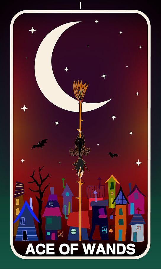 Tarot Card, Ace of Wands  #wands #witch #gothic #illustration #tarotdeck #children #tales #city #adventure #magic