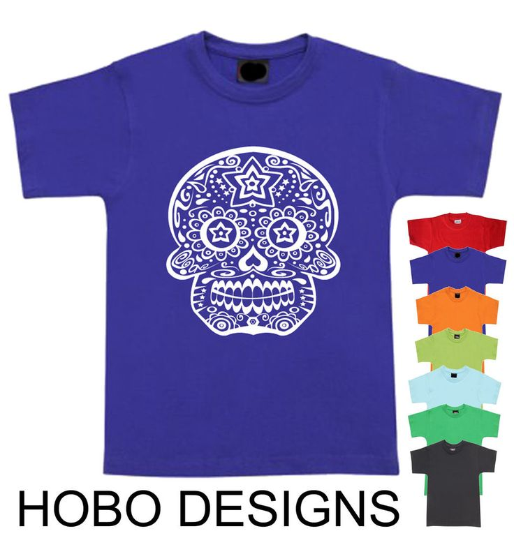 MEXICAN SUGAR SKULL Size  Designs New children kid's tshirt fun funky cool tee's