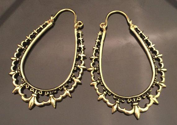 Messing-Fluer Creolen Ohrringe gedehnte Ohren von wotwjewelry