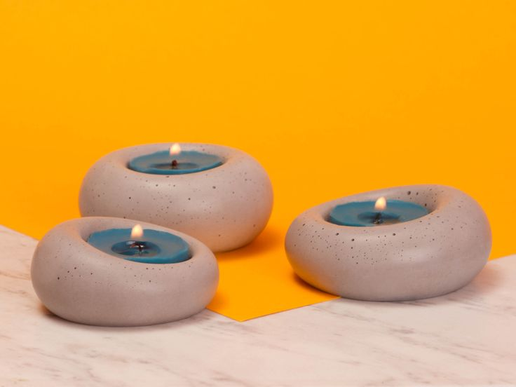 abconcrete design - candlestick, concrete, middle grey, yellow, design, blue, purple, minimal, Blub
