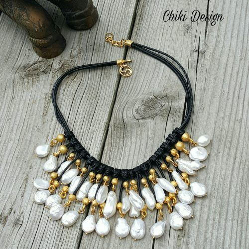 Elegant Pearl Necklace with Leather & Gold-Plating – Unique Jewelry. Chiki Design