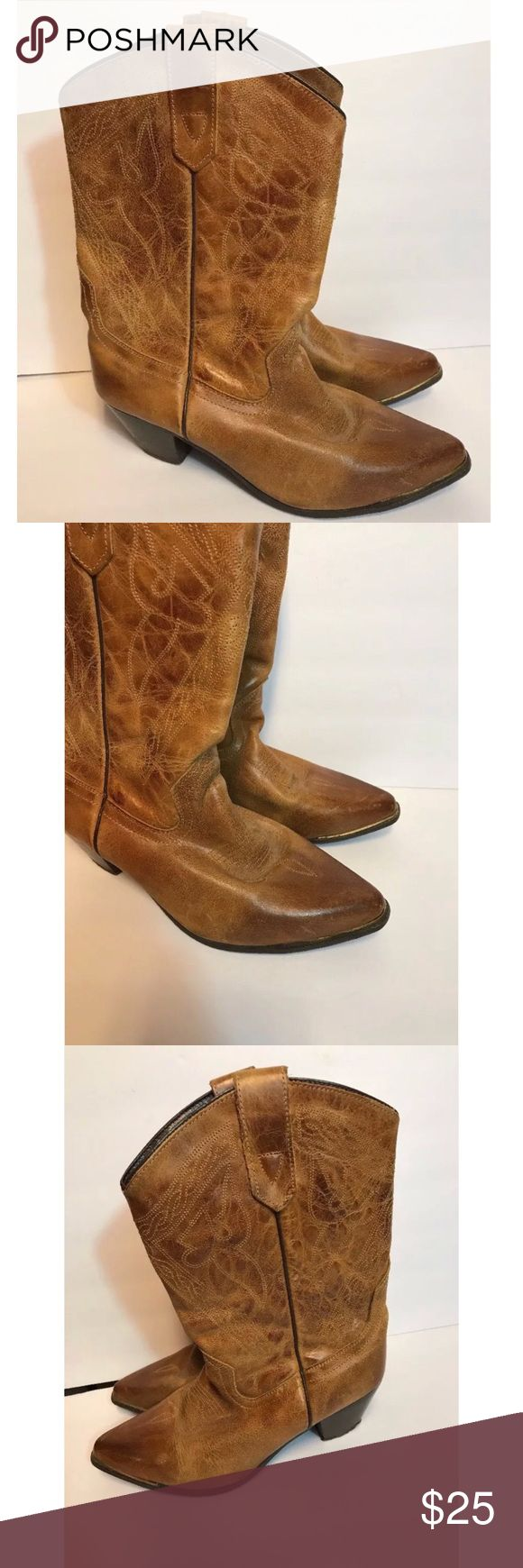 Oak Tree Farms Cowgirl Boots Brown Leather 9.5 Med Oak Tree Farms Cowgirl Boots , brown leather US 9.5 , preowned , # 99614, has a lot of life left in these. Looks good, message me for additional questions. Oak Tree Farms Shoes Heeled Boots