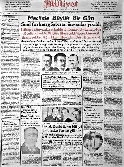 ''Mecliste Büyük Gün! Sınıf farkını gösteren ünvanlar yıkıldı!'' (#Milliyet, 1934) #UnutulmuşManşetler #gazete #istanlook