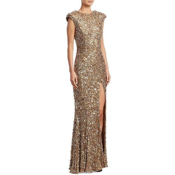 Rachel Gilbert Seraphina Sequin Gown ($2,099) ❤ liked on Polyvore featuring dresses, gowns, brown sequin dress, cap sleeve sequin dress, sequin ball gown, brown gown and sequined dress