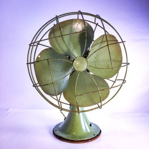 Antique-Vintage-Emerson-Electric-Brass-4-Blade-Oscillating-Fan-77646-AS