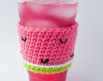Café sandía acogedor - beba manga - acogedor café - profesor regalo - crochet de sandía - café acogedor - taza de sandía