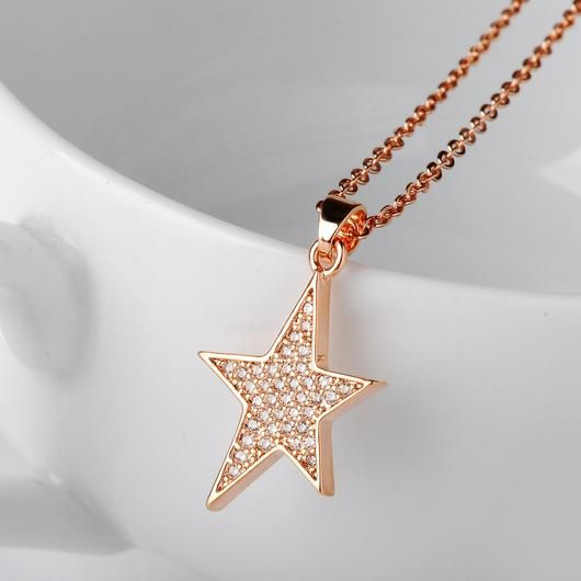 HERMOSO Moon And Star Pendant necklace for women, Made with Swarovski Crystal,Platinum plating jewellery chain 16